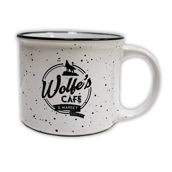 Wolfe's Cafe & Market Speckled Mug