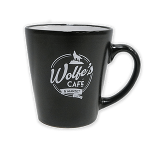 Wolfe's Cafe & Market Black Coffee Mug